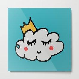 April showers king cloud Teal #nursery Metal Print