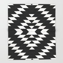 Urban Tribal Pattern No.14 - Aztec - Black Concrete Throw Blanket