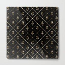 Black & Gold Rose Princess Pattern Metal Print