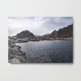 Norwegian fishing village, A Metal Print