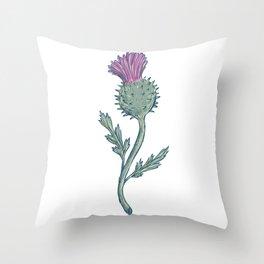 Scottish Thistle Drawing Throw Pillow