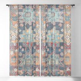 Karabakh  Antique South Caucasus Azerbaijan Rug Print Sheer Curtain