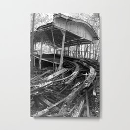 Abandoned Roller Coaster Station Metal Print