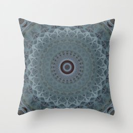 Mandala in silver and blue tones Throw Pillow