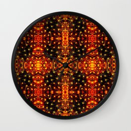 Red Yellow Sparkling Pattern Wall Clock