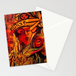 Indigenous Inca Tribes People portrait painting by Ortega Maila Stationery Cards