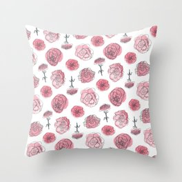 Pink Carnation Pattern Throw Pillow
