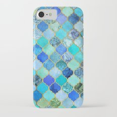 Cobalt Blue, Aqua & Gold Decorative Moroccan Tile Pattern iPhone 7 Slim Case