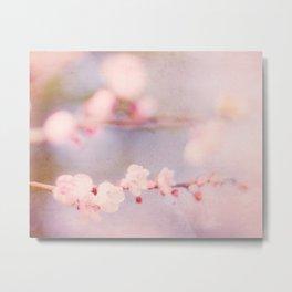 Pink Pastel Flower Blossoms Metal Print
