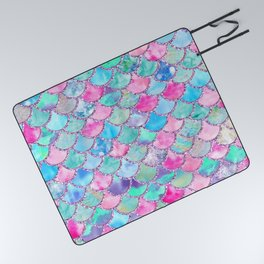 Colorful Pink and Blue Watercolor Trendy Glitter Mermaid Scales  Picnic Blanket