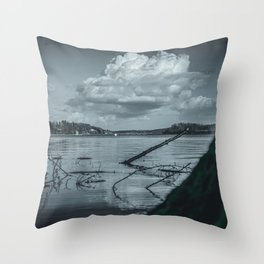 Cloudy Möhne Reservoir Lake 2 dark Throw Pillow