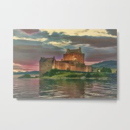 Eilean Donan Sunset Watercolour Effect Metal Print