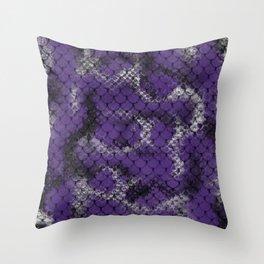 Indigo Purple Serpent Snake Scales Pattern Design Throw Pillow