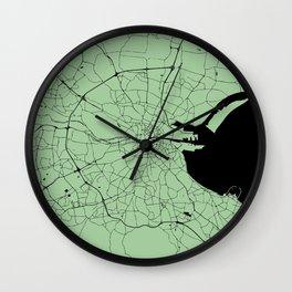 Dublin Ireland Green on Black Street Map Wall Clock