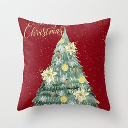 Christmas Tree Merry Christmas Red Throw Pillow
