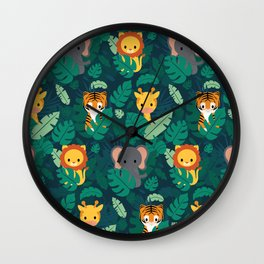 Cute jungle pattern Wall Clock