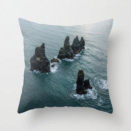 Sea stacks on the Icelandic Coast near Vik - Landscape Photography Throw Pillow