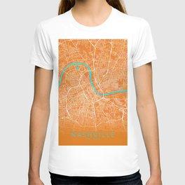 Nashville, TN, USA, Gold, Blue, City, Map T-shirt
