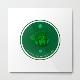 Retro Vintage St Patricks Day Green Beer Irish Metal Print
