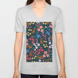 Vintage floral background. Flowers pattern with small colorful flowers on a dark blue background.  Unisex V-Neck