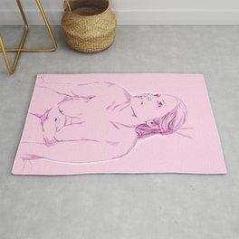 chica rosada sentada Rug