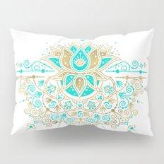 Sacred Lotus Mandala – Turquoise & Gold Palette Pillow Sham
