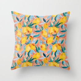 Lucky Lemons Watercolor Fruit Pattern in Peach and Yellow Throw Pillow