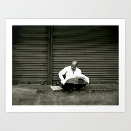 Reading Newspaper (Travel & India) Art Print
