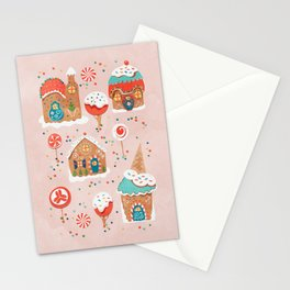 Gingerbread Candy Land on pink Stationery Cards