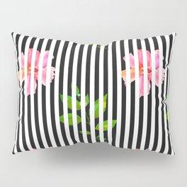 Geometrical black white stripes pink floral Pillow Sham