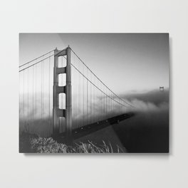 Golden Gate Bridge | Black and White San Francisco Landmark Photography Shot From Marin Headlands Metal Print