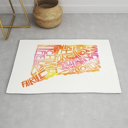 Typographic Connecticut - orange watercolor map Rug