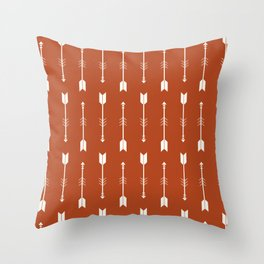 Burnt Orange & White Arrows  Throw Pillow