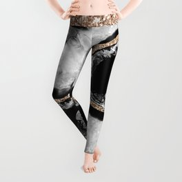 Yin Yang Agate Glitter Glam #8 #gem #decor #art #society6 Leggings