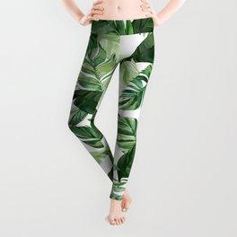 Green leaf watercolor pattern Leggings
