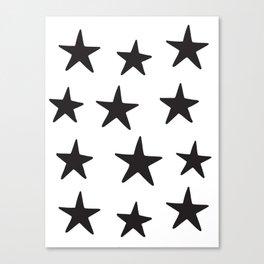 Star Pattern Black On White Leinwanddruck