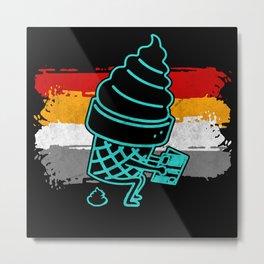 Funny Retro Ice Cream Poop Metal Print