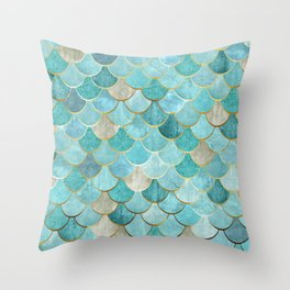 Moroccan Mermaid Fish Scale Pattern, Aqua,Teal Throw Pillow