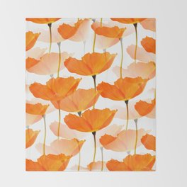 Orange Poppies On A White Background #decor #society6 #buyart Throw Blanket