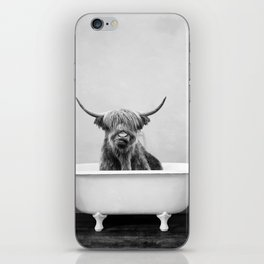Highland Cow in a Vintage Bathtub (bw) iPhone Skin