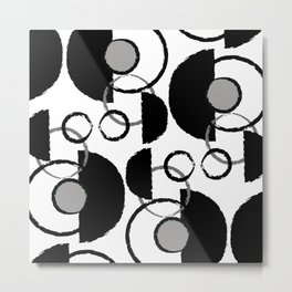Black, White, Grey Abstract 1 Metal Print