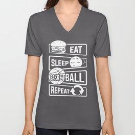 Eat Sleep Basketball Repeat - B-Ball Team Dunk Unisex V-Neck