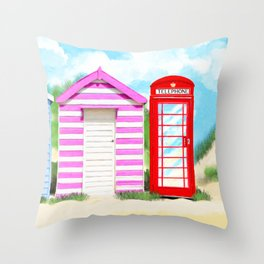 Summer In Great Britain - Red Telephone Box Artwork Throw Pillow