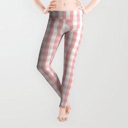 Large Lush Blush Pink and White Gingham Check Leggings