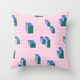 Grid & Tetris Throw Pillow
