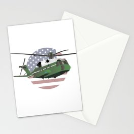 Green American Helicopter with Flag Stationery Cards