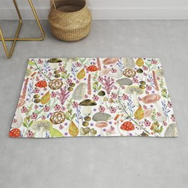 Colorful Autumn woodland animals and foliage pattern Rug