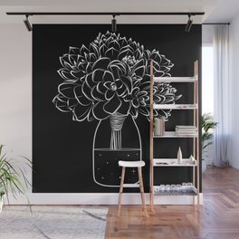 Succulents on a cosmic bottle black  Wall Mural