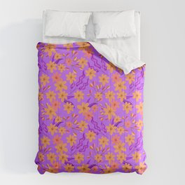 Beautiful girly summer orange flowers, delicate leaves floral fabric purple feminine pattern. Comforters