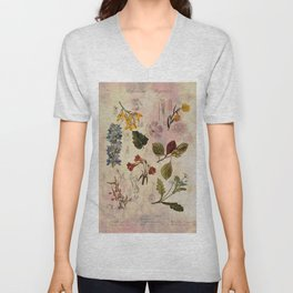 Botanical Study #1, Vintage Botanical Illustration Collage Unisex V-Neck